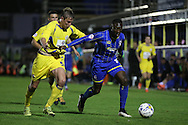 Adebayo Azeez of AFC Wimbledon is challenged by Tom Davies of Accrington Stanley. Skybet football league two play off semi final, 1st leg match, AFC Wimbledon v Accrington Stanley at the Cherry Red Records Stadium in Kingston upon Thames, Surrey on Saturday 14th May 2016.<br /> pic by John Patrick Fletcher, Andrew Orchard sports photography.