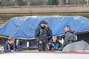 Putney, Great Britain, 23rd March 2019,  left standing, Oxford Chief Coach, Sean BOWDEN and right, sitting Men's race umpire Rob CLEGG, Pre Boat Race Fixture, Oxford University  Boat Club vs Leander Club, Championship Course, River Thames,   England, [Mandatory Credit; Peter Spurrier/Intersport-images],