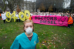 December 10, 2016 - London, London, United Kingdom - Image ¬©Licensed to i-Images Picture Agency. 10/12/2016. London, United Kingdom. Doctors Against Diesel campaign launch. Medical student Jaime Bolzern, with other campaigners from Doctors Against Diesel, gather by Euston Road, London, calling for Sadiq Khan, Mayor of London, to commit to phase out diesel vehicles from London, and for the public to respond to a TFL public consultation in support of the phasing out of diesel in London. Doctors Against Diesel is an emerging group of medical professionals who are drawing attention to the link between the use of diesel fuels, air pollution and a public health emergency. Picture by David Mirzoeff / i-Images (Credit Image: © David Mirzoeff/i-Images via ZUMA Wire)
