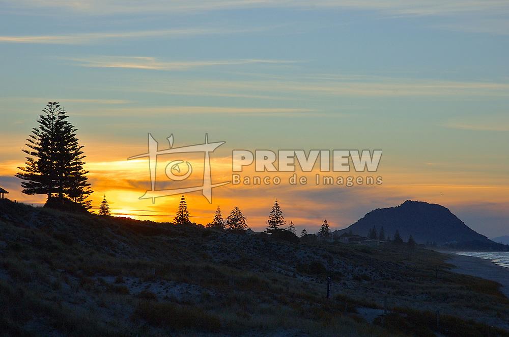 Da beira da praia de Mount Maunganui é possível prensenciar as belezas do pôr-do-sol contrastando com os pinheiros que circundam a orla. FOTO: Lucas Uebel/Preview.com