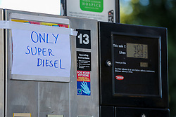 © Licensed to London News Pictures. 29/09/2021. London, UK. 'Only Super Diesel' sign displayed at a pump of Texaco petrol station in Hackney, north London as the station runs out of motor fuel on the sixth day of the fuel crisis. According to the government, 75 army tanker drivers have been put on standby to deliver motor fuel in order to ease the chaos at petrol stations. Photo credit: Dinendra Haria/LNP