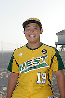 26 September 2011: #19 Ryo Takada 2011 Little League Baseball World Series Championship team portrait northside of the Huntington Beach Pier at sunset in Southern California.  Ocean View team WEST beat Hamamtsu City, Japan, 2-1, to become the seventh team from California to win the title on August 28, 2011 in South Williamsport, PA.