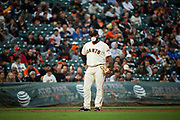 San Francisco Giants third baseman Pablo Sandoval (48) blows a bubble at third base during a MLB game against the Milwaukee Brewers at AT&T Park in San Francisco, California, on August 21, 2017. (Stan Olszewski/Special to S.F. Examiner)