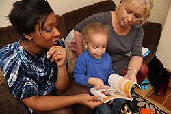 Mother and toddler at home with health visitor