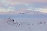 Sunrise on Klauva, from Rabotbreen, Svalbard.
