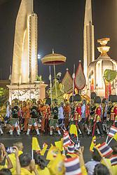 The King is passing at the Democracy Monument, Couronnement du Roi De Thaïlande, Rama X, His Majesty King Maha Vajiralongkorn Bodindradebayavarangkun, in Bangkok, Thailand, on May 05, 2019. Photo by Loic Baratoux /ABACAPRESS.COM