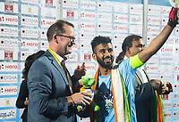 BHUBANESWAR - Hockey World League finals Match for bronze , Germany v India (1-2). Jason McCracken. CEO Chief Executive Officer with Manpreet Singh (Ind). COPYRIGHT KOEN SUYK