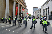 British mounted police officers try to contain members of the Black Lives Matter Movement during a protest at Trafalgar Square, in central London, Saturday, June 13, 2020. British police have imposed strict restrictions on groups protesting in London Saturday in a bid to avoid violent clashes between protesters from the Black Lives Matter movement, as well as far-right groups that gathered to counter-protest.<br /> Anger against systemic levels of institutional racism has raged through the city, and worldwide; sparked by the death of George Floyd, who was killed in Minneapolis, US, by a policeman who restrained him with force on 25 May 2020. (Photo/ Vudi Xhymshiti)