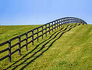 Green Grass And Blue Sky Along A Fence Line And Pasture During Autumn In Horse Country, Lexington, Kentucky, USA