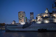 HMS Belfast and the City of London skyline, England, UK.