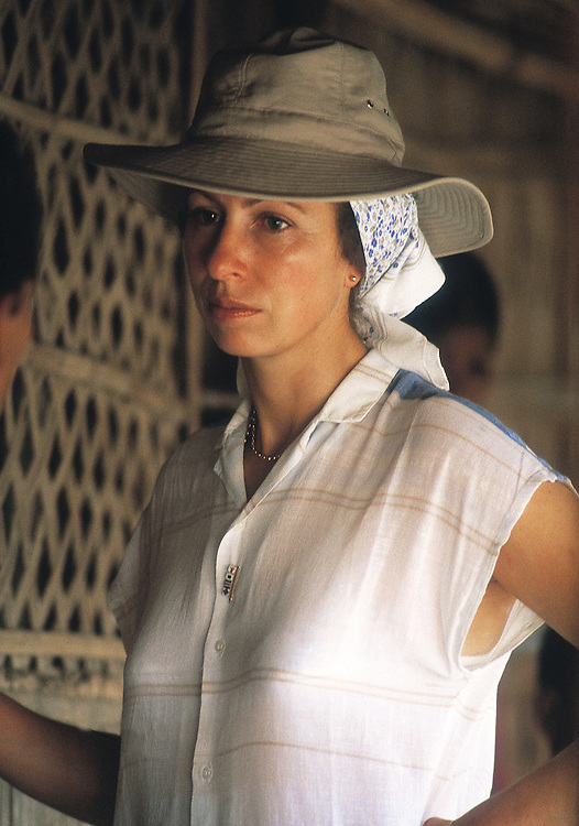 The Princess Royal,Princess Anne as President of Save the Children charity is seen on a trip to Pullakandi, Bangladesh, October 1984.Photographed by Jayne Fincher