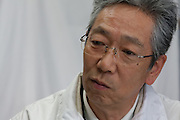 Portrait of Kazuo Anzai (62) who works testing locally grown crops for radioactive contamination at the Becquerel Centre at a farmer's Market in Miharu, Fukushima, Japan, Wednesday May 1st 2013.