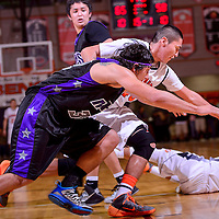 020614       Cable Hoover<br /> <br /> Gallup Bengals Tyler John (45) and Miyamura Patriot Jared Meese (32) chase after a loose ball Thursday at Gallup High School.