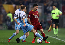 March 2, 2019 - Rome, Lazio, Italy - SS Lazio v As Roma : Serie A.Lorenzo Pellegrini of Roma and Lucas Leiva of Lazio at Olimpico Stadium in Rome, Italy on March 2, 2019. (Credit Image: © Matteo Ciambelli/NurPhoto via ZUMA Press)