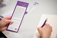 An attendee reads the prayer from a resource given by Debbie Larson, president of the Lutheran Women's Missionary League (LWML), during the Making Disciples for Life Initial Gathering on Friday, Jan. 10, 2020, at the International Center of The Lutheran Church–Missouri Synod in St. Louis. LCMS Communications/Erik M. Lunsford