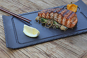 Char grilled salmon in teriyaki sauce