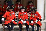 Chelsea Pensioners at Royal Hospital Chelsea for Founder's Day Parade, London, UK