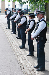 ©Licensed to London News Pictures 08/05/2020  <br /> Greenwich, UK. Police officers observing the VE-DAY two minute silence at 11am in the park. People out and about in Greenwich Park, Greenwich, London, enjoying the bank holiday weekend sunny weather out of the house from coronavirus lockdown. <br /> Photo credit:Grant Falvey/LNP