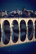 Harrisburg, PA, Skyline, Susquehanna River, RR Bridge Reflections