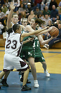 Minisink Valley Stefanie Dolson, right, keeps the ball away from Kingston's Rachel Coffey (23) and Andrea Clausi during the Section 9 Class AA championship game l at SUNY New Paltz on March 6, 2006.