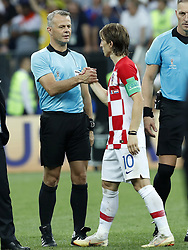 (L-R) 4th official Bjorn Kuipers, Luka Modric of Croatia during the 2018 FIFA World Cup Russia Final match between France and Croatia at the Luzhniki Stadium on July 15, 2018 in Moscow, Russia