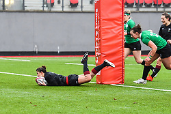 Wales women's Jessica Kavanagh-Williams <br /> scores her sides first try<br /> <br /> Photographer Craig Thomas/Replay Images<br /> <br /> International Friendly - Wales women v Ireland women - Sunday 21th January 2018 - CCB Centre for Sporting Excellence - Ystrad Mynach<br /> <br /> World Copyright © Replay Images . All rights reserved. info@replayimages.co.uk - http://replayimages.co.uk