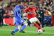 Middlesbrough forward Britt Assombalonga (9) is faced by Peterborough United defender Jason Naismith (2) during The FA Cup 3rd round match between Middlesbrough and Peterborough United at the Riverside Stadium, Middlesbrough, England on 5 January 2019.