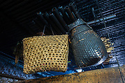 Apatani baskets<br /> Left, Talo Piiro made of bamboo for holding brass plate call Talo and an Embin Khanchchu made of cane wicker for storing rice<br /> Apatani Tribe<br /> Ziro Valley, Lower Subansiri District, Arunachal Pradesh<br /> North East India