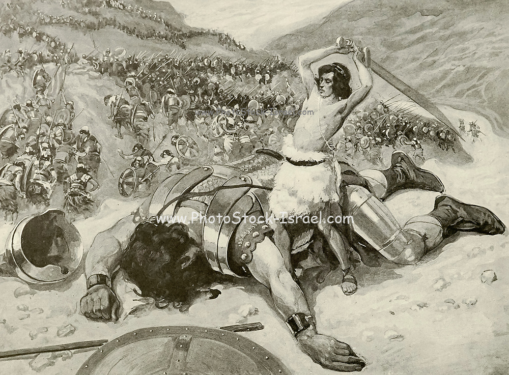 DAVID CUTS OFF THE HEAD OF GOLIATH. I Samuel xvii. 51. Therefore David ran, and stood upon the Philistine, and took his sword, and drew it out of the sheath thereof, and slew him, and cut off his head therewith. And when the Philistines saw their champion was dead, they fled. From the book ' The Old Testament : three hundred and ninety-six compositions illustrating the Old Testament ' Part II by J. James Tissot Published by M. de Brunoff in Paris, London and New York in 1904