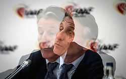 IAAF President Lord Sebastian Coe during the press conference at the London Marriott Hotel Canary Wharf, London. ***EDITORS NOTE TAKEN USING A MULTIPLE EXPOSURE EFFECT IN CAMERA***