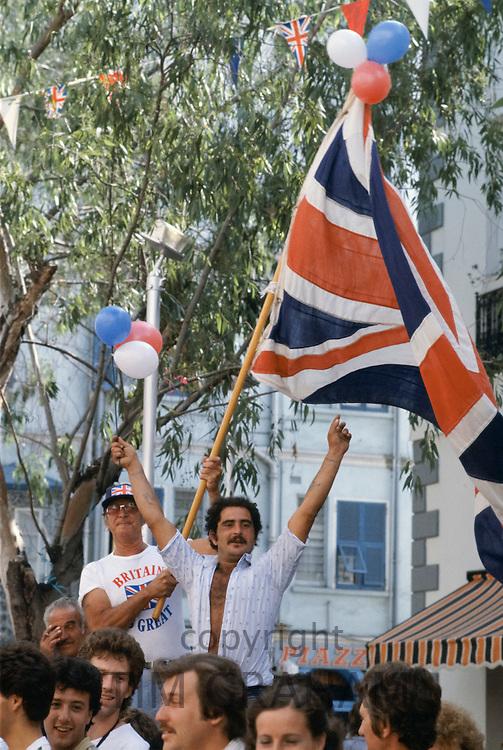 Patriotic British people in 1980s in Gibraltar