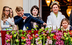 Their Majesties The King Harald and Queen Sonja greet people the Palace Square from the Palace Balcony in Oslo, Norway, on May 9, 2017. Many of their Royal guests will also be in attendance celebrations of king Harald birthday as Prince Haakon and Crown Princess Mette-Marit, Princess Martha Louise, Princess Astrid, H.M. Queen Margrethe II, Crown Prince Frederik and Crown Princess Mary, Prince Joachim and Princess Marie, King Carl XVI Gustaf and Queen Silvia of Sweden, Crown Princess Victoria and Prince Daniel, Prince Carl Philip and Princess Sofia, Grand Duke Henri and and Grand Duchess Maria-Teresa of Luxembourg, Archduke Duke Guillaume and Arvestor Duchess Stéphanie, H.F.H. First Albert II of Monaco, King Willem-Alexander and Queen Maxima of Netherlands, Princess Beatrix of the Netherlands, Prince Constantijn of the Netherlands, Princess Mabel of Oranje-Nassau, King Philippe and Queen Mathilde of Belgium. Photo by Robin Utrecht/ABACAPRESS.COM  | 592040_040 Oslo Norvège Norway