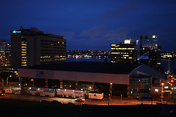 Metro Centre & World Trade & Convention Centre (on the right Halifax Citadel)  in Halifax at night. Metro Centre is Ice-Hockey Arena of IIHF World Championship 2008,  on May 01, 2008, Halifax, Canada.  (Photo by Vid Ponikvar / Sportal Images)
