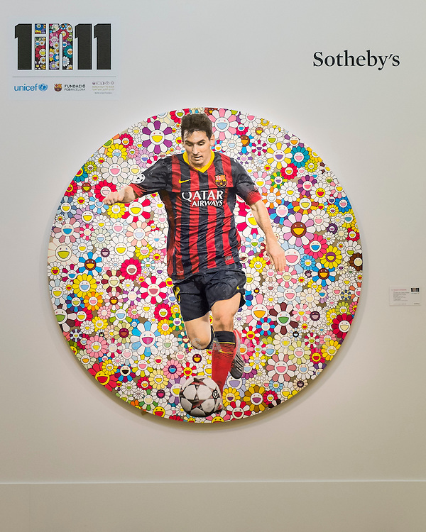 TAKASHI MURAKAMI -<br /> LIONEL MESSI AND A UNIVERSE OF FLOWERS. From 'The Art of Football' highlights from celebrated artists due to be auctioned on 12th February 2015, donated in support of the 1 in 11 Campaign by FC Barcelona, Reach Out to Asia (ROTA) and UNICEF, at Sotheby's, London, UK on 6th February 2015.