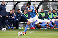 Nathan Thompson of Portsmouth on the attack during the The FA Cup 1st round match between Maidenhead United and Portsmouth at York Road, Maidenhead, United Kingdom on 10 November 2018.