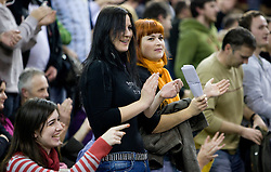 Fans  at Euroleague basketball match in 6th Round of Group C between KK Union Olimpija and Maccabi Tel Aviv, on December 3, 2009, in Arena Tivoli, Ljubljana, Slovenia. Maccabi defeated Union Olimpija 82-65. (Photo by Vid Ponikvar / Sportida)