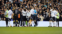 Distraut Tottenham Hotspur Players after Fabrice Muamba is strechered off after been given emergency CPR by Paramedics on the pitch<br />Bolton Wanderers 2011/12<br />Tottenham Hotspur V Bolton Wanderers 17/03/12<br />The FA Cup 6th Round<br />Photo: Robin Parker Fotosports International