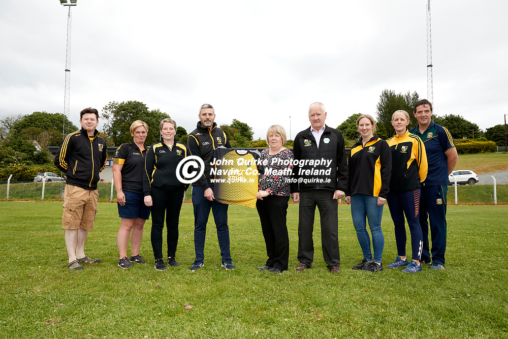 26-06-21, Presentation of sponsored jerseys to Nobber u-14 Ladies team by E & T Electrical.<br /> Pictured at the presentation were L-R, Michael Finucane (Club Chairperson), Arlene McCormack (Juvenile Coach), Elaine Curtis (Juvenile Secretary), Philip McEntee (Juvenile Manager), Treasa Smith (Sponsor), Gene Smith (Sponsor), Linda Monaghan (COVID Officer),  Una Condra (Assistant), Larry McEntee (Club Secretary)<br /> <br /> Photo: David Mullen / www.quirke.ie ©John Quirke Photography, Proudstown Road Navan. Co. Meath. 046-9079044 / 087-2579454.<br /> ISO: 320; Shutter: 1/250; Aperture: 7.1;