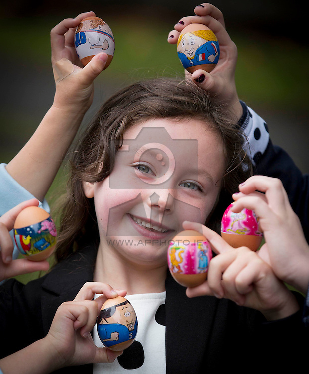"""Repro Free:<br /> Ella Keegan is pictured at the launch of Ballyfree Free Range Eggs """"Shrinkies"""". A unique little cartoon character sleeve the fits onto an egg and shrinks onto it while boiling, making the humble egg a bit more exciting for small people.  <br />  <br /> Eggs are one of the few grocery categories that have enjoyed steady growth over the last few years with sales increased by +6% (Kantar Worldpanel Aug 2014).  Ballyfree Free Range eggs are hoping to capitalise on this increasing demand and encourage parents of young children to eat more eggs. Picture Andres Poveda<br />  <br /> For Further info:<br /> Aisling Roche<br /> 087 9881583<br /> aisling@armsmarketing.com"""