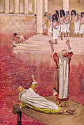 """WATER IS CHANGED INTO BLOOD. Ex. vii. 20. """"And all the waters that were in the river were turned to blood"""" From the book ' The Old Testament : three hundred and ninety-six compositions illustrating the Old Testament ' Part I by J. James Tissot Published by M. de Brunoff in Paris, London and New York in 1904"""