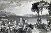 Lago Maggiore - The Keepsake 1829 The Keepsake was an English literary annual which ran from 1828 to 1857, published each Christmas from 1827 to 1856, for perusal during the year of the title. Like other literary annuals, The Keepsake was an anthology of short fiction, poetry, essays, and engraved illustrations. It was a gift book designed to appeal to young women, and was distinctive for its binding of scarlet dress silk and the quality of its illustrations. Although the literature in The Keepsake and other annuals is often regarded as second-rate, many of the contributors to The Keepsake are canonical authors of the Romantic period.