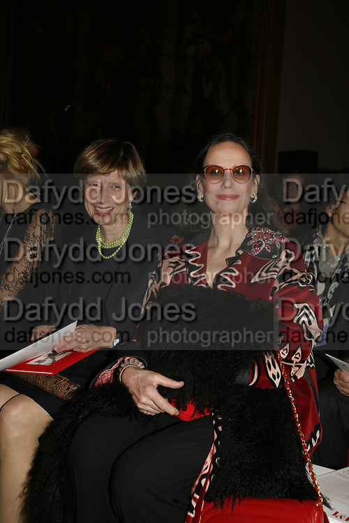 Lady Janvin and Claudine Auger, Party to celebrate the Christian Lacroix Fashion in Motion fashion show and the opening of  M/M Paris: Antigone Under Hypnosis part of  Paris Calling the UK-wide celebration of contemporary French culture. V. & A. London. 31 October 2006. -DO NOT ARCHIVE-© Copyright Photograph by Dafydd Jones 66 Stockwell Park Rd. London SW9 0DA Tel 020 7733 0108 www.dafjones.com
