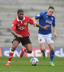 Bristol City's Mark Little jostles for the ball with Oldham Athletic's Mike Jones - Photo mandatory by-line: Dougie Allward/JMP - Mobile: 07966 386802 - 03/04/2015 - SPORT - Football - Oldham - Boundary Park - Bristol City v Oldham Athletic - Sky Bet League One