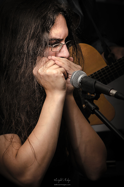 Fran Corazo performing the the Back Alley Boys backing Earl Arnold at the Bus Stop Music Cafe in Pitman, NJ.