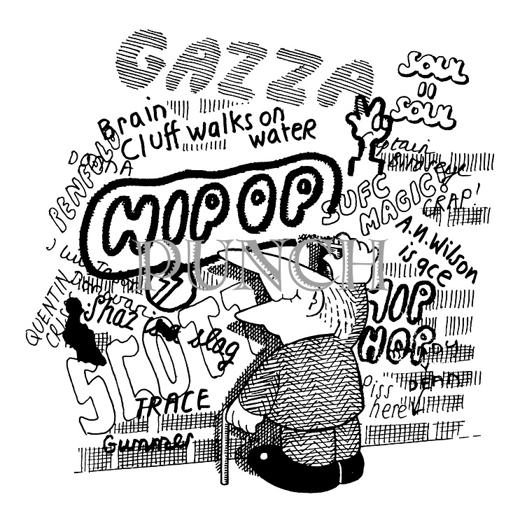 (old man writing graffitti - hip op - on wall)