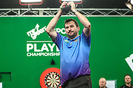 Jonny Clayton after his semi final victory over Rob Cross during the PDC Darts Players Championship at  at Butlins Minehead, Minehead, United Kingdom on 26 November 2017. Photo by Shane Healey.