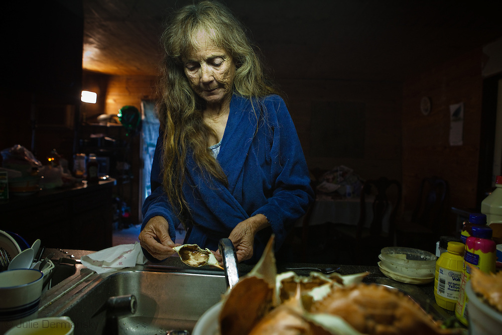 Mandy Verdin, part of the Pointe-au-Chien Indian tribe is out of work since they closed shrimp and crab season on May 29th.  She was working with her daughter Grace Welch crabbing but now is staying at home.