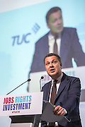 Luca Visentini, General Secretary of the ETUC addressing the TUC congress 2016, Brighton. UK.