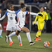 Carli Lloyd, USA, shoots during the USA Vs Colombia, Women's International friendly football match at the Pratt & Whitney Stadium, East Hartford, Connecticut, USA. 6th April 2016. Photo Tim Clayton