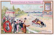 Motor racing: Crowd cheering the winner. Liebig Trade Card c1910. Automobile Engine Transport  Technology